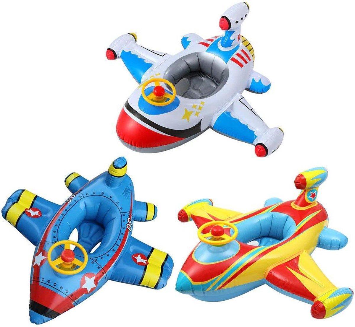 Intex - Opblaasfiguur - Voertuig - Vliegtuig - Bootje - Opblaasbare Blauwe Vliegtuig met stuur en toeter - Zwemspeelgoed - Peuter Speelgoed - Zwemband -