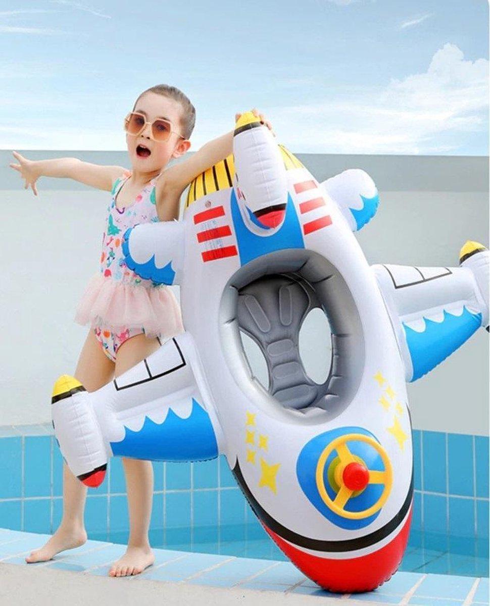 Intex - Opblaasfiguur - Voertuig - Vliegtuig - Bootje - Opblaasbare Wit Vliegtuig met stuur en toeter - Zwemspeelgoed - Peuter Speelgoed - Zwemband -