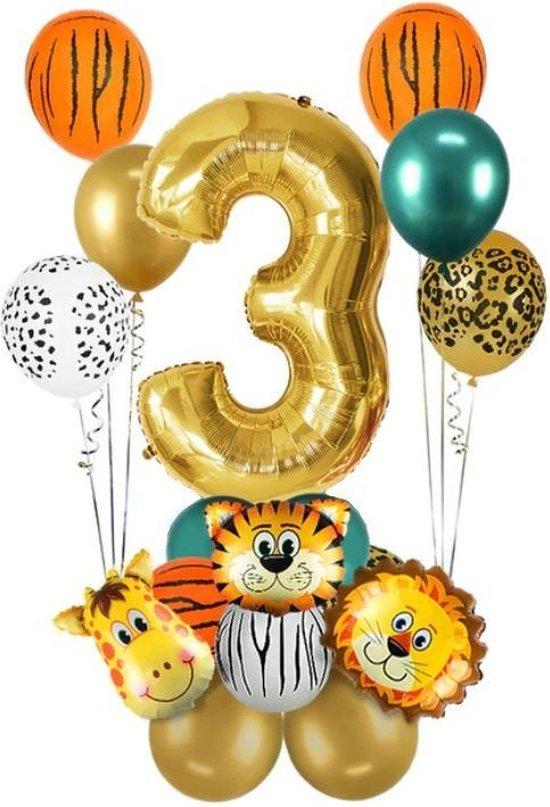 Dieren ballon - 3 jaar - Kinderfeestje - Drie jaar - Verjaardagfeest - ballonnen pakket - Kinderfeestje pakket - Dieren ballonnen pakket - Jungle