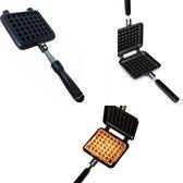 Smokey Flamez Luxe Wafelijzer - Wafelmaker - Waffle Maker - Kniepertjesijzer - Cadeau/Verjaardag - Moederdag - vaderdag - vader cadeautjes - BBQ Accesiores - Bakvorm