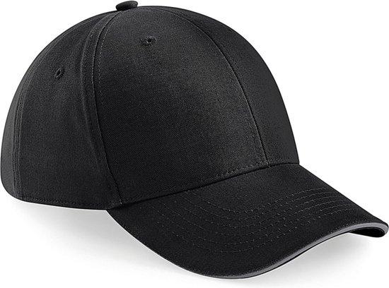 6-panel baseballcap zwart/grijs voor volwassenen