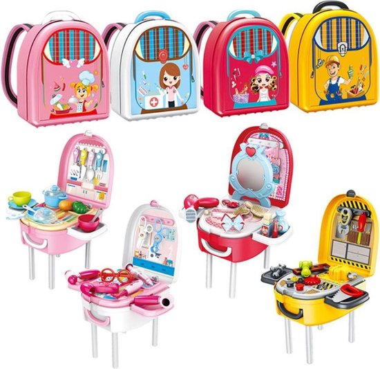 4yourkids - Praktische kinderen keuken speelset - 22 stuks - Jongen en meisjes - Speelgoed eten en drinken - Rugzak - Rollenspel - 3 jaar - Gift - Cadeau - Sinterklaas - Kerst