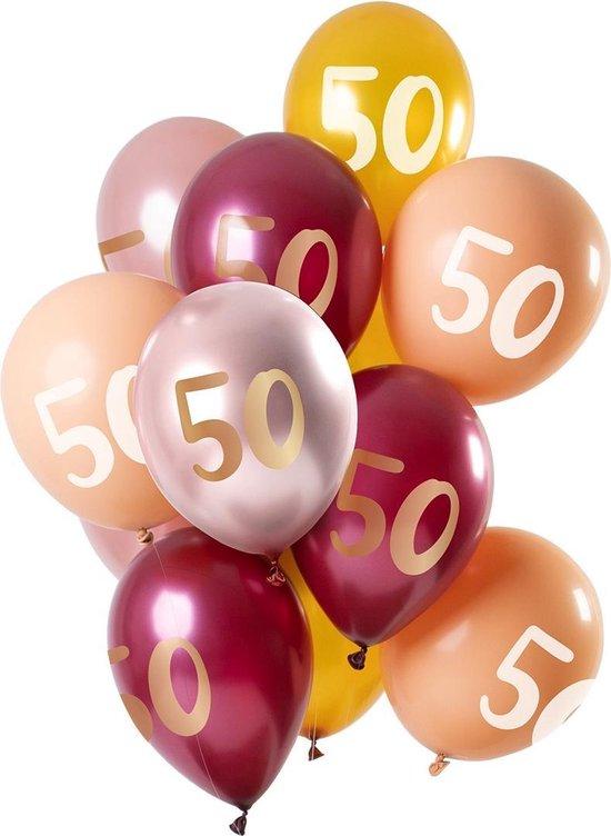 Ballonnen 50 Jaar Roze 30cm 12st
