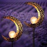 Happy Goods - 2x Maanvorm 600MAH Solar tuinverlichting op zonne-energie LED buiten sfeerverlichting op sensor -  tuinfakkels lantaarn