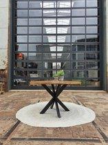 Zita Home eettafel rond - 130cm - mango - zwart - metalen 4-poot