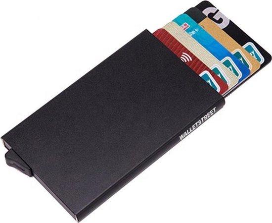 Walletstreet Uitschuifbare Pasjeshouder -  Walletstreet Aluminium Creditcardhouder Card Protector Anti-Skim/ RFID Card Protector 7 Pasjes – Zwart