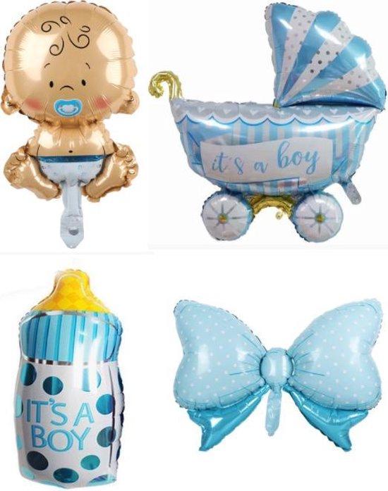 Geboorte Set Boy ballonnen - XL - 4 stuks - Baby ballon  - Blauw - Folie ballon - Themafeest - Babyshower - Geboorte - It