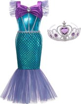 Zeemeermin jurk Prinsessen jurk donker paars + kroon - Maat 116/122 (120) verkleedjurk verkleedkleding