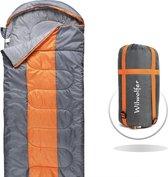 WilWolfer Slaapzak 220 x 85 cm lichtgewicht comfortabele envelop draagbaar waterdicht compact met compressiezak, ideaal voor 4 seizoenen reizen, kamperen, wandelen en buitenactiviteiten