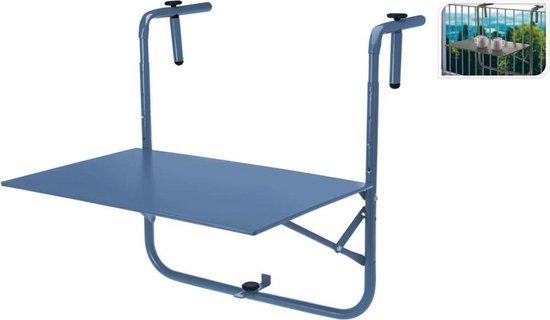 Balkon tafel metaal mat blauw 60 x 43 cm Inklapbaar - Hoogte verstelbaar