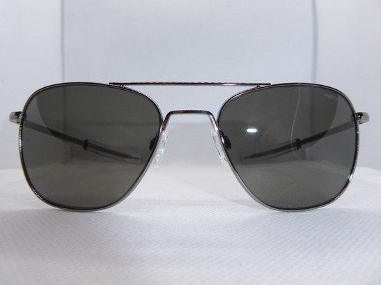 Randolph zonnebril, aviator AF095, gunmetal montuur, met american gray glazen, maat 55