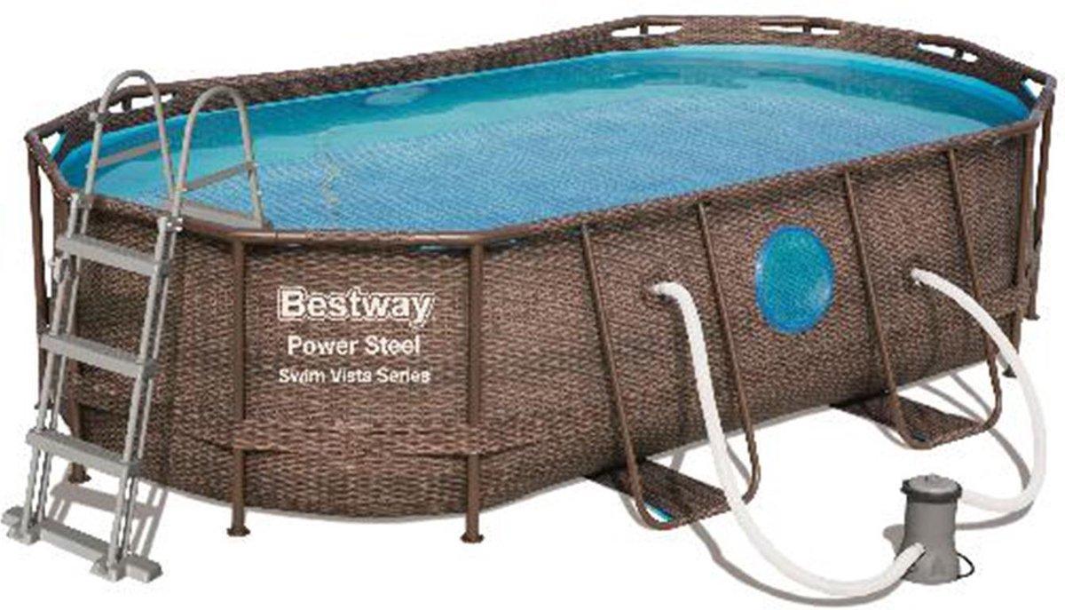Bestway Power Steel Swim Vista Series 427x250x100cm - Zwembad met filterpomp - Afdekzeil zwembad - Zwembadtrap - Zwembaden - Rotan