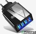 USB snel lader/Quick Charger 3.0 - USB stekker - USB Lader - Oplader voor Smartphones en Tablets - Thuislader - Universele Adapter met 4 usb poorten - telefoonstekker