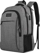 TravelMore Rugzak - Schooltas - 15,6 inch Laptop Rugtas - Dames/Heren - 28L - Waterafstotend - Grijs
