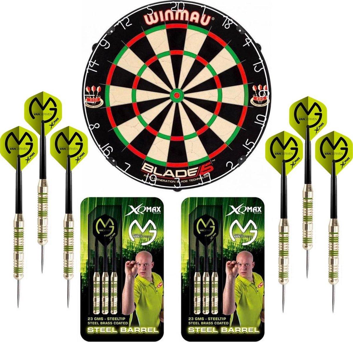 Dragon Darts Michael van Gerwen Octane set - dartbord - 2 sets - dartpijlen - dart shafts - dart flights - Winmau Blade 5 dartbord