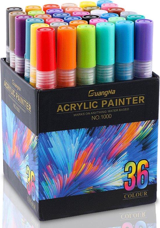 Afbeelding van Acryl Stiften - 36 kleuren - Happy Stones Stiften - 3MM - acrylstiften voor stenen schilderen -  Verfstiften voor steen - Acrylverf Stiften/Acryl Marker