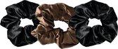 YOSMO - Scrunchies -  haar elastiek - kleur zwart - bruin - 100% moerbei zijde - bundel dark