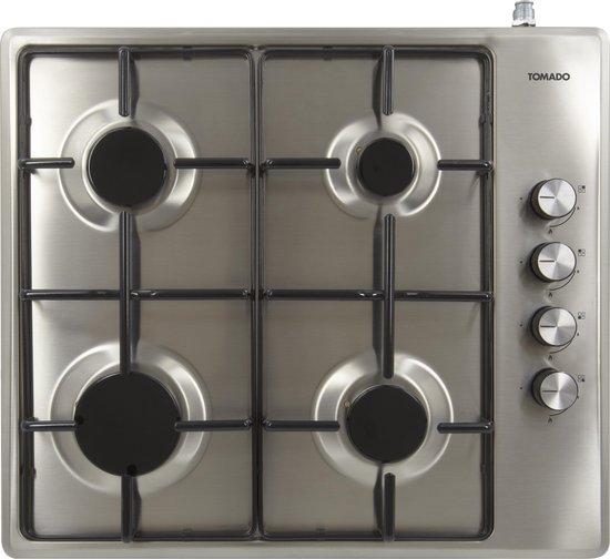 Tomado TGH6001S - vrijstaande gaskookplaat - 4 branders - RVS