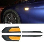 2 STKS Koolstofvezel Auto-Styling Spatbord Reflecterende Bumper Decoratieve Strip, Binnenreflectie + Externe Koolstofvezel (Geel)