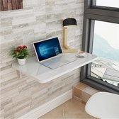 Wandtafel | Inklapbaar | Wandbureau | Inklapbare Tafel | Keukentafel | 90x60cm | Ovaal | Wit