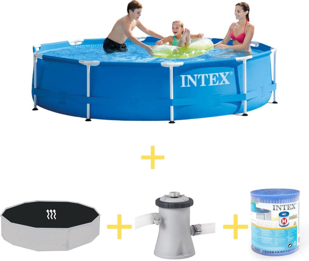 Intex Zwembad - Metal Frame - 305 x 76 cm - Inclusief Solarzeil, Filterpomp & Filter