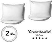 DroomTextiel Deluxe - Katoen / Satijnen Kussensloop 2 Stuks - 60 x 70 cm - Wit - Hoogwaardige kwaliteit - Super Zacht -