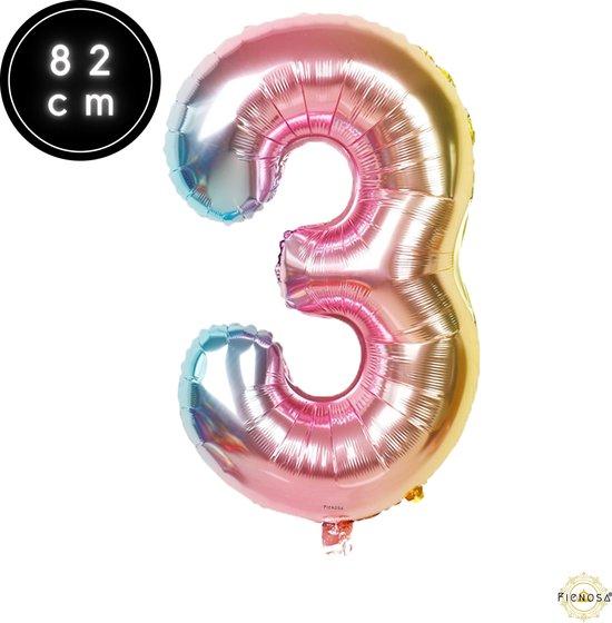 Cijfer Ballonnen - Cijfer Ballon Regenboog - Cijfer 3 Ballon - 82 cm Hoog - Ballonnen Verjaardag - Feestversiering - 30 jaar - Fienosa
