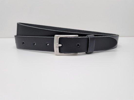 Lederen riem 3 cm breed – Zilver gesp – Leren Broekriem – Pantalon breedte – 120 cm Egaal leer – kleur Zwart