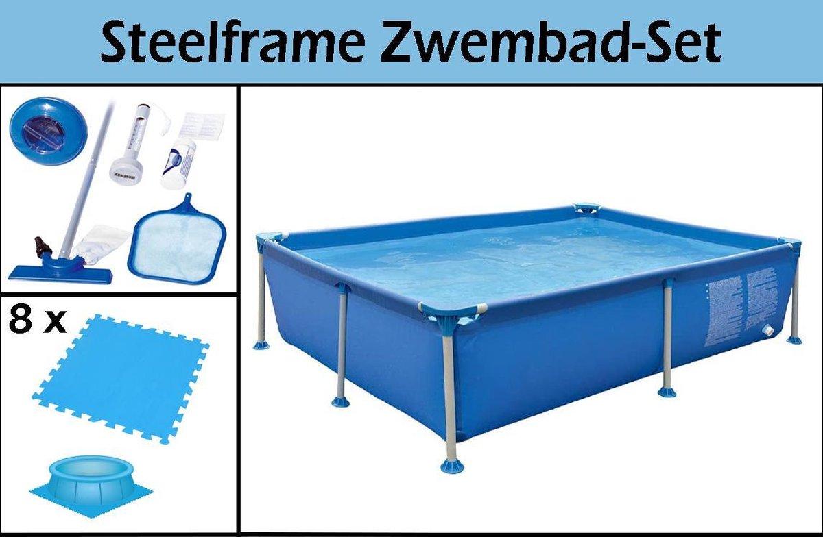 Steelframe Zwembad-Set | 228x159x42cm | Inclusief GRATIS Zwembadtegels & Schoonmaakkit | Ruim Steelframe Zwembad