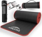 Tested by Athletes Pro II Fitnessmat + E-Book met oefeningen - 183 x 61 x 1cm NBR Foam - Oefenmat met draagtas- en riem - Voor Fitnessoefeningen en Yoga oefeningen