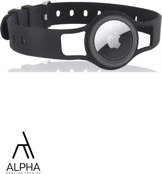 AlphaServiceTech® | Apple Airtag Hond Halsband - Airtag Hoesje - Siliconen Beschermhoes - bescherm case- Bescherm hoesje voor Airtags - Beschermhoesje | Zwart
