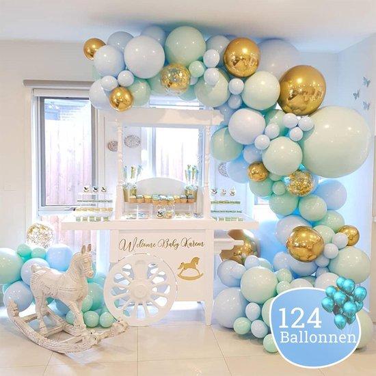 Sellaio Ballonnenboog – Mint - Ballonnen verjaardag – Versiering- Babyshower  – Inclusief strip en pomp – Complete set – 124 ballonnen