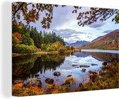 Canvas Schilderijen - Herfstkleuren bij het meer in Snowdonia - 180x120 cm - Wanddecoratie XXL