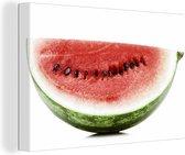 Gesneden verse watermeloen op witte achtergrond Canvas 140x90 cm - Foto print op Canvas schilderij (Wanddecoratie woonkamer / slaapkamer)