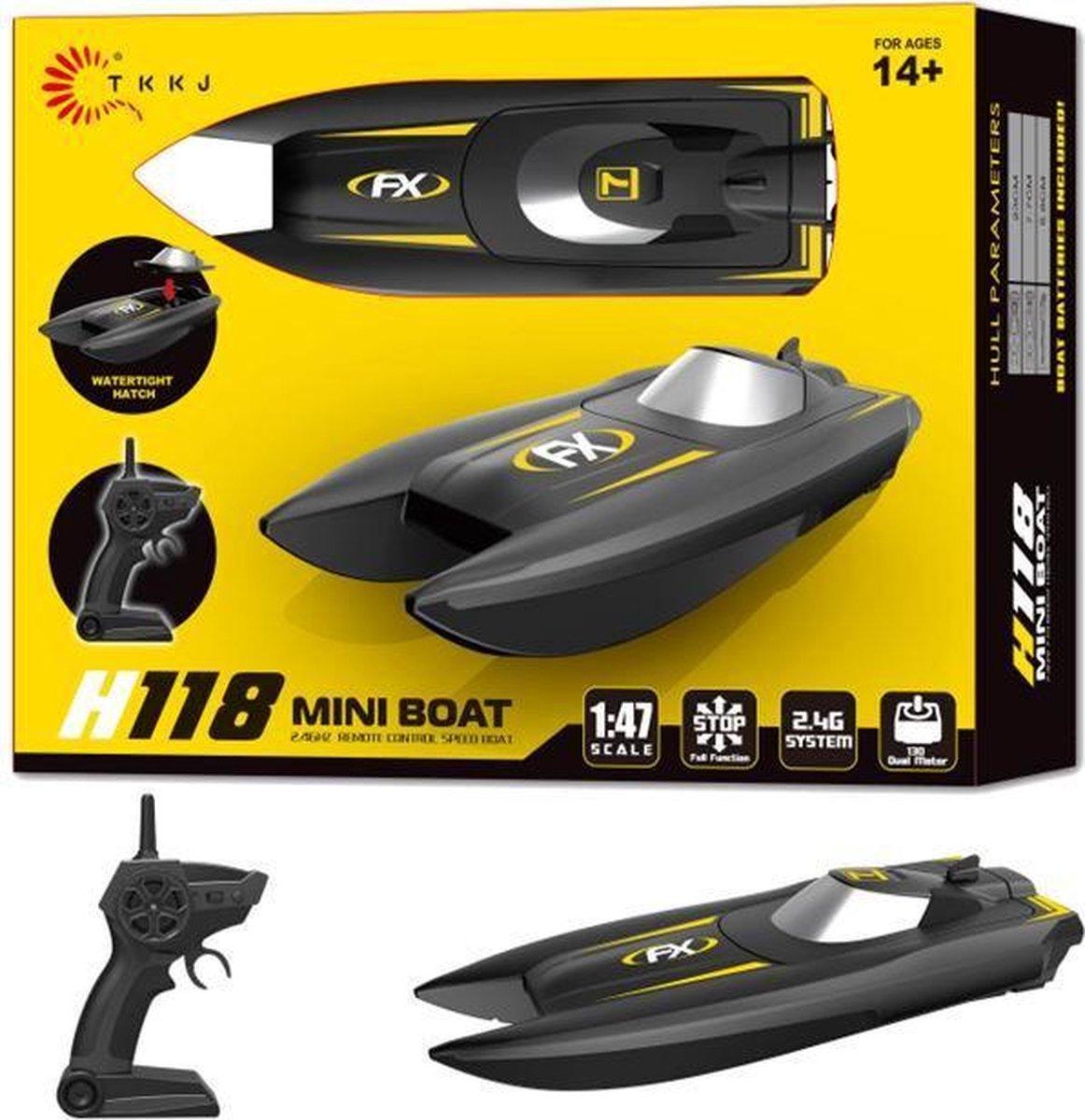 Rc boot H118 - oplaadbaar - 2.4ghz zender - 10km/h  (bereik tot 50 meter) 1:47 - race boot + Extra a