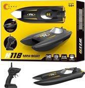 Rc boot H118 - oplaadbaar - 2.4ghz zender - 10km/h  (bereik tot 50 meter) 1:47 - race boot - Zwart