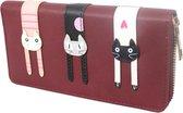 Dames Portemonee – Mini Wallet – Compacte Portemonnee - Kunst Leer – Kaart Houder – Kat bordeaux rood