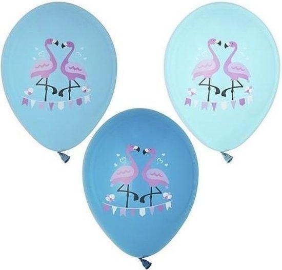 12x stuks Flamingo vogel thema print ballonnen 29 cm - Feestartikelen/versiering