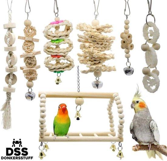 Donkersstuff - Vogelspeelgoed - Parkieten Speelgoed - Vogelspeelgoed Parkiet - Vogelkooi Decoratie - 7 stuks