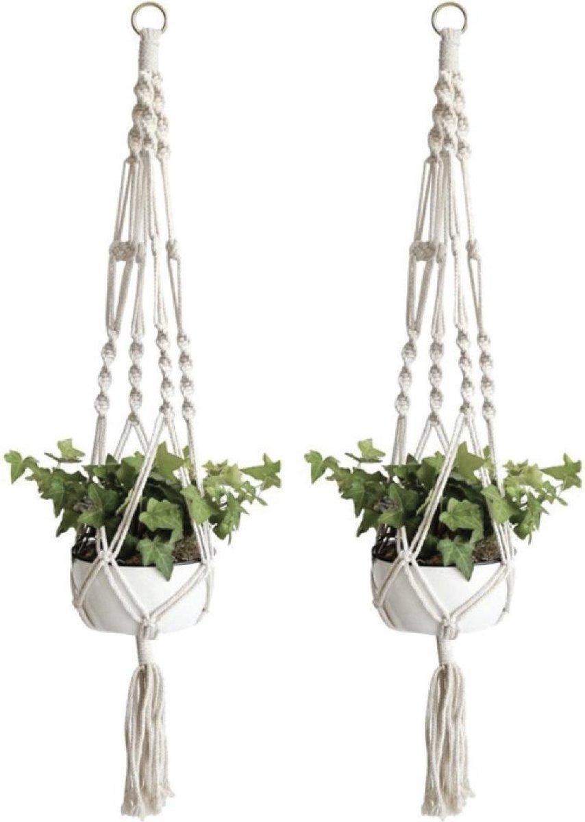 Plantenhanger macramé - Luxe gevlochten touw katoen - 2 stuks - plantenpot ophangen
