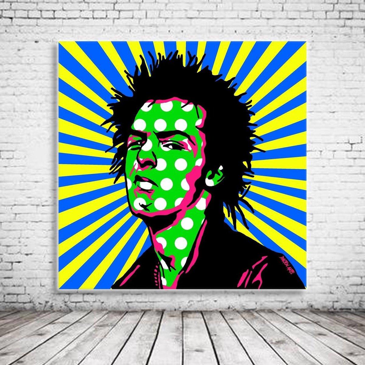 Pop Art Sid Vicious Canvas - 100 x 100 cm - Canvasprint - Op dennenhouten kader - Geprint Schilderij - Popart Wanddecoratie