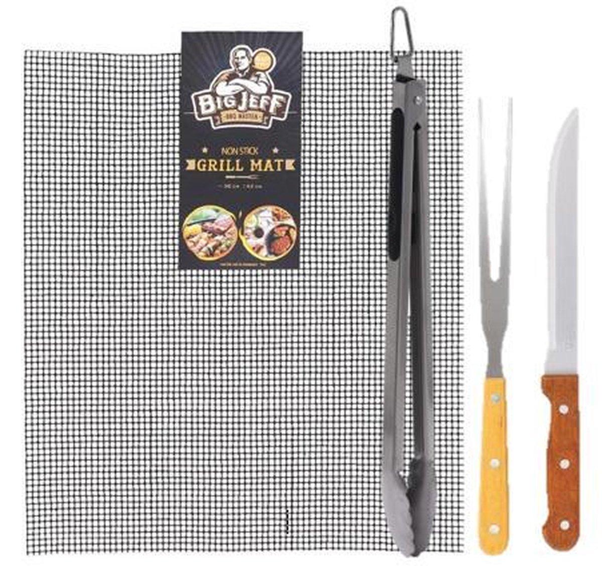 BBQ pakket - Grillmat voor op de barbecue of oven - barbecue tang - barbecue grill mat - barbecue - bbq tangenset -bbq tang - bbq master - roestvrij staal - trancheer set - big jeff bqq master -