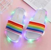 Lichtgevende LED Slippers Regenboog - Zilver - Maat 34