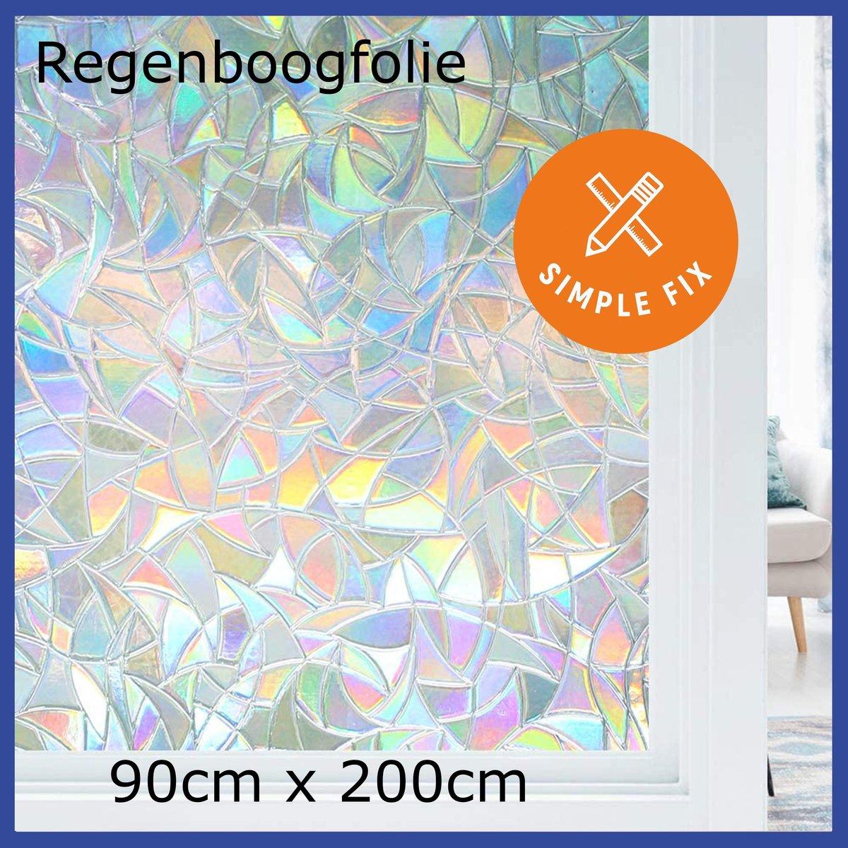 Raamfolie - 90cm x 200cm - Plakfolie - Decoratiefolie - Zelfklevend - Regenboogfolie - Statisch - An