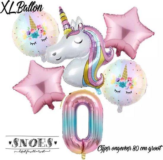 * Snoes * Unicorn * Eenhoorn Licht Roze * Set van 6 Ballonnen XL * Unicorn Nummer 0 * Net Geboren * Hoera 0 Jaar * Birthday