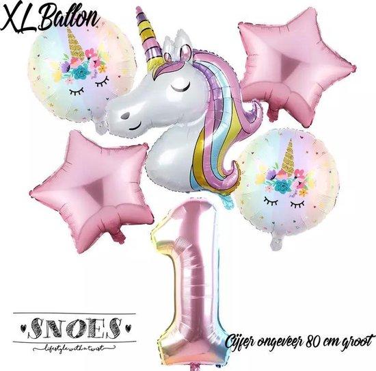 * Snoes * Unicorn * Eenhoorn Licht Roze* Set van 6 Ballonnen XL * Unicorn Licht 1 * Eerste verjaardag * Hoera 1 Jaar * Birthday