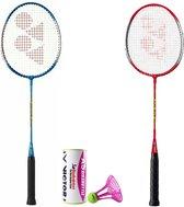 Yonex recreatieve badmintonset GR-020 met 3 JEX AIRbadminton outdoor shuttles