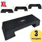 W.O.D Fitness Step Pro XL - Aerobic Step Bankje - Antislip Oppervlak - Verstelbaar In 3 Hoogtes - Zwart