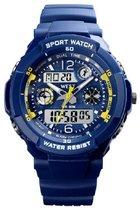 West Watch multifunctioneel kinder sport horloge - model Storm – Chronograaf – Shockproof - Digitaal/Analoog - Blauw/geel