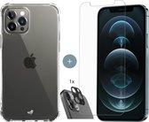 iPhone 12 Pro Max hoesje shock proof case transparant - 2x iPhone 12 Pro Max Screen Protector - hoesje met Camera Lens Screenprotector